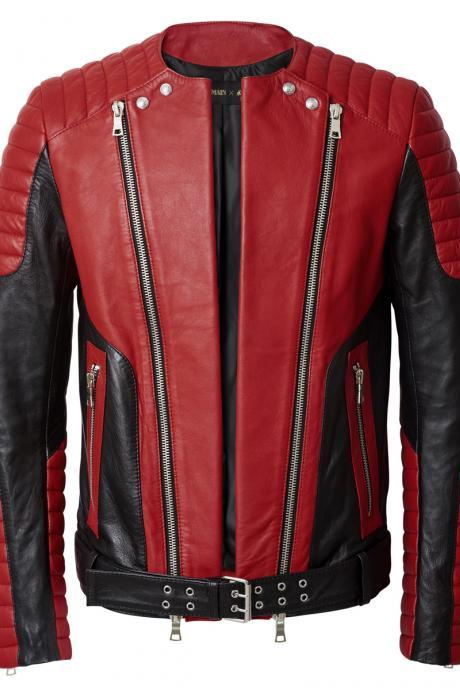 UNISEX FRONT ZIPPER CLASSIC RED BLACK LEATHER JACKET MEN'S 2016
