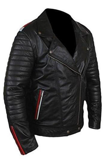 Black Classic Racing Leather Black Leather Jacket 2016 Men's