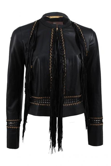 Woman's Roberto Cavalier Black Long Sleeve Fringe Leather Biker Jacket 2016