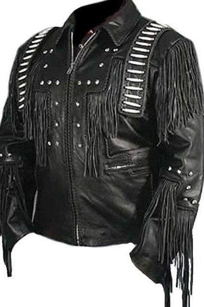 Black Western Cowboy Black Racing Leather Jacket 2016 Men's