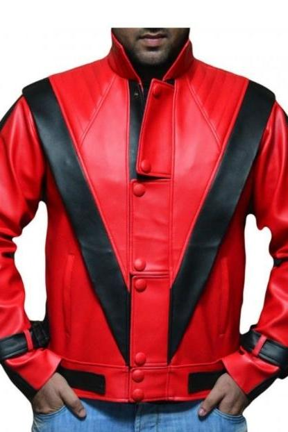 MICHAEL JACKSON THRILLER RED LEATHER JACKET MEN'S 2016