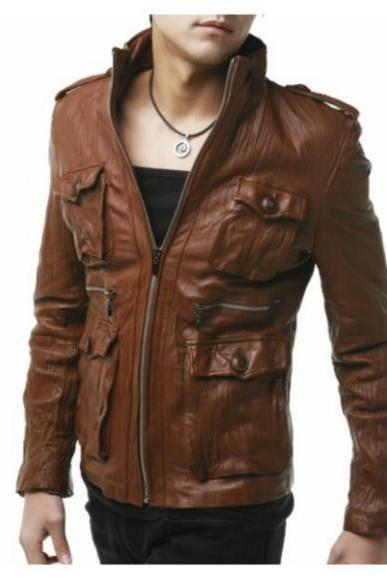 BROWN SLIM FIT ORIGINAL SHEEP LEATHER JACKET 2016 MEN'S