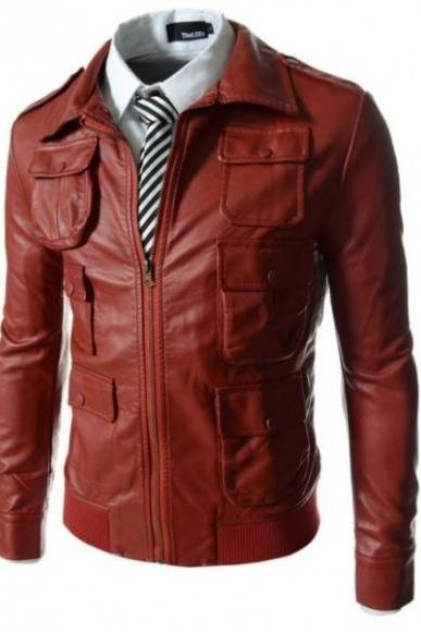 MULTI POCKET BOMBER RED SLIM FIT LEATHER JACKET 2016 MEN'S