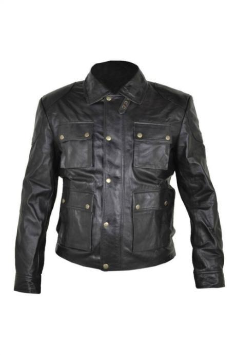 CELEBRITY ITALY BLACK BIKER LEATHER JACKET MEN'S 2016