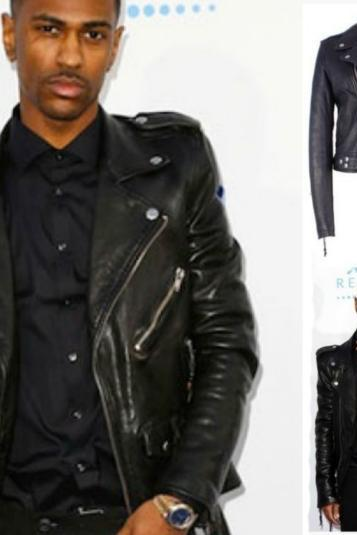 BIG SEAN BLACK MOTORCYCLE LEATHER JACKET MEN'S 2016