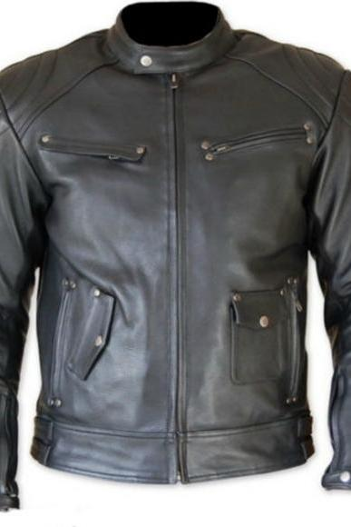 POCKET STYLE CLASSIC BLACK RACING LEATHER JACKET 2016 MEN'S