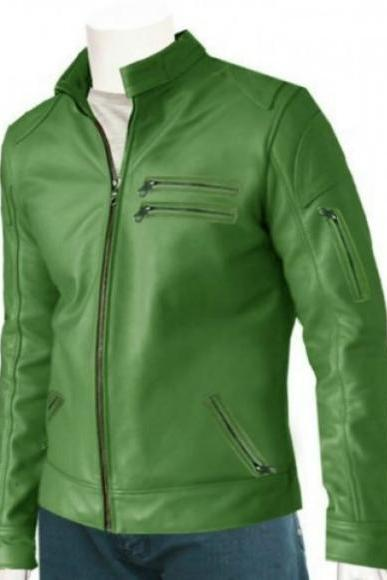 CLASSIC GREEN SHORT BIKER RACING LEATHER JACKET 2016 MEN'S