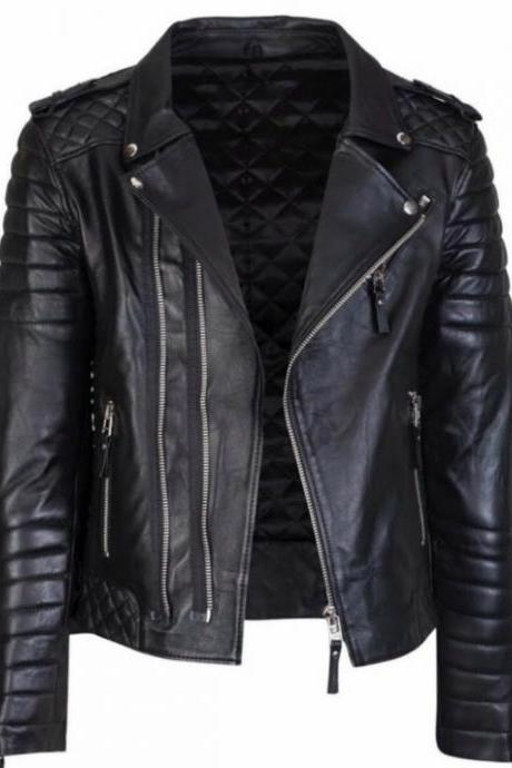 STYLISH FRONT ZIPPER SLIM FIT GENUINE BLACK LEATHER JACKET 2016 MEN'S