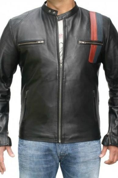 CLASSIC BLACK RED STRIP FRONT ZIPPER RACING LEATHER JACKET MEN'S 2016