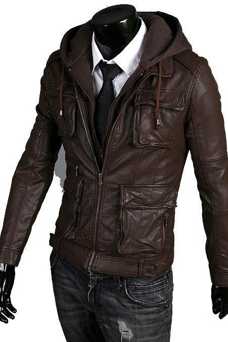DETACHABLE BROWN HOODED MULTI POCKET LEATHER JACKET MEN'S 2016
