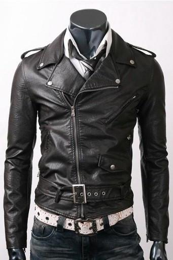 BLACK SLIM FIT BELTED RIDER LEATHER JACKET 2016 MEN'S