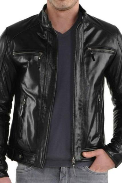 MULTI POCKET STYLE BLACK SLIM FIT LEATHER JACKET 2016 MEN'S
