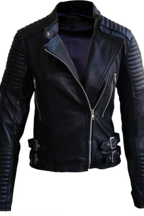BRANDO SHOULDER PADDED BLACK LEATHER JACKET MEN'S 2016