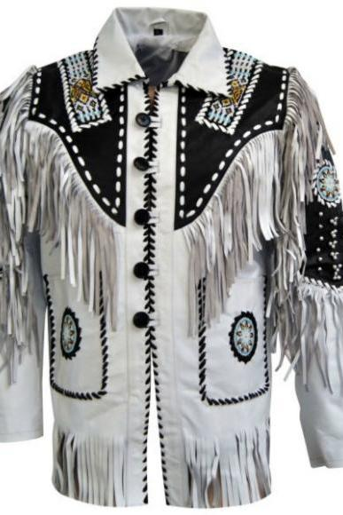 BLUISH WHITE SUEDE FRINGE WESTERN COWBOY LEATHER JACKET 2016 MEN'S