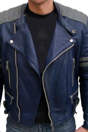 BLUE COLOR BOMBER LEATHER JACKET 2016 MEN'S