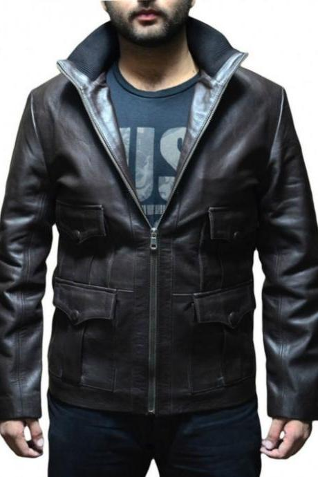 MS JAMES BOND CASINO ROYAL BLACK LEATHER JACKET 2016 MEN'S