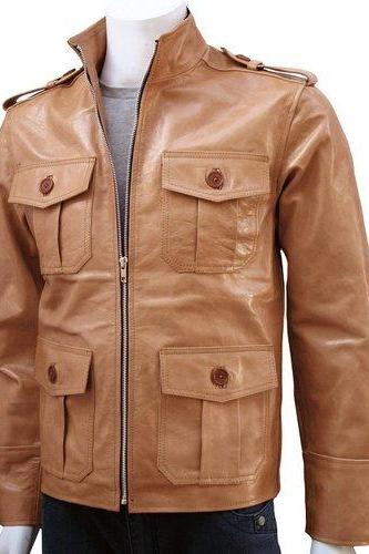 FRONT FLAP POCKETS TAN BROWN LEATHER JACKET MEN'S 2016
