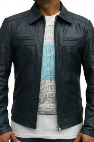 VINTAGE STYLE MIDNIGHT BLUE LEATHER JACKET MEN'S 2016