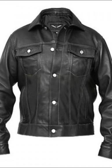 CHEST BUTTON BLACK RACING LEATHER JACKET 2016 MEN'S