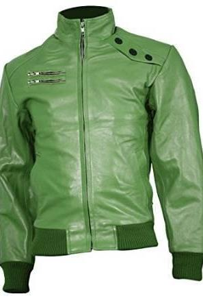 GREEN FRONT ZIPPER RACING LEATHER JACKET 2016 MEN'S