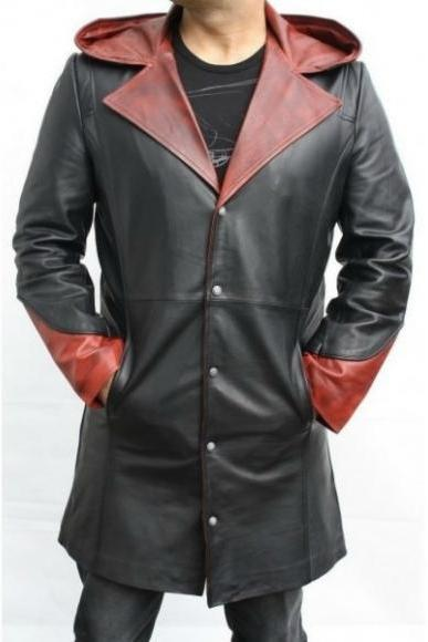 DEVIL MAY CRY DANTE 5 COW HIDE LEATHER TRENCH COAT 2016 MEN'S