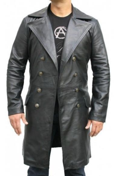 FRONT BUTTON BLACK LONG ORIGINAL LEATHER COAT 2016 MEN'S