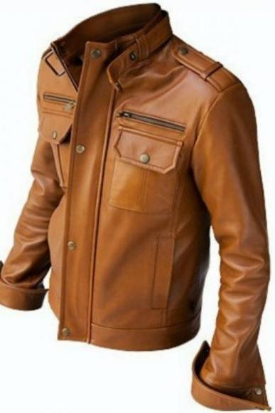 SLIM-FIT FASHION BROWN RACING LEATHER JACKET 2016 MEN'S