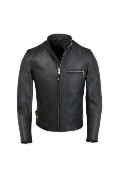 BAN COLLAR BLACK BIKER LEATHER JACKET MEN'S 2016