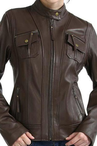 FRONT FLAP CLASSIC BROWN FASHION LEATHER JACKET WOMEN'S 2016