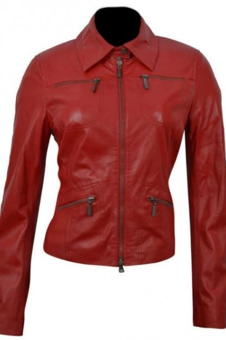 WOMEN'S CLASSIC RED LEATHER FASHION JACKET 2016 MEN'S