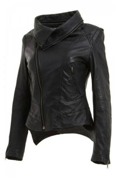 WOMEN'S BLACK CUT STYLE BIKER RACING LEATHER JACKET 2016