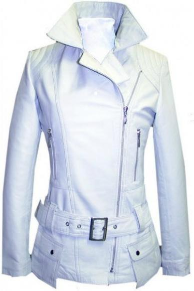 WHITE BELTED WOMAN'S ORIGINAL CLASSICAL LEATHER JACKET 2016