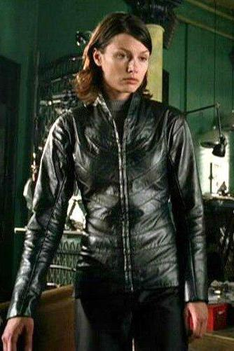 BRIDGET MOYNAHAN I ROBOT BLACK LEATHER JACKET WOMAN'S 2016