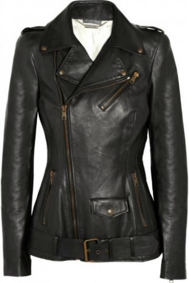 NEW MS FASHION WOMEN'S BLACK LEATHER JACKET 2016
