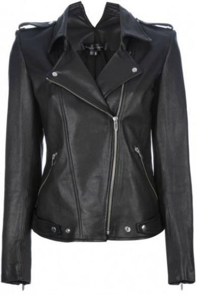COLLAR CUT WOMAN'S BLACK CLASSIC LEATHER JACKET 2016