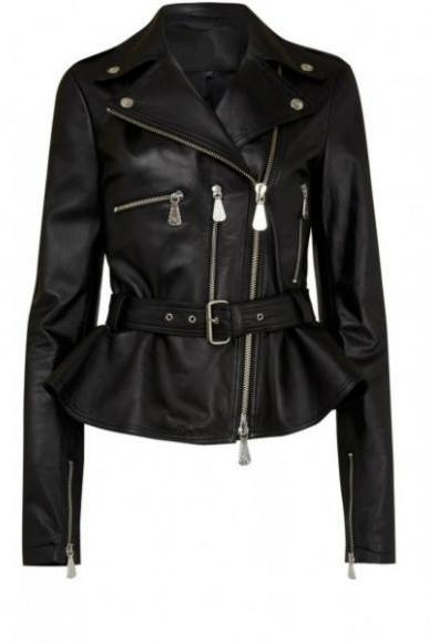 BUCKLE STYLE CLASSIC BLACK LEATHER JACKET 2016 WOMAN'S