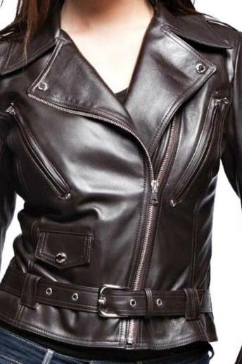 BRANDO STYLE WOMEN'S BLACK LEATHER JACKET 2016