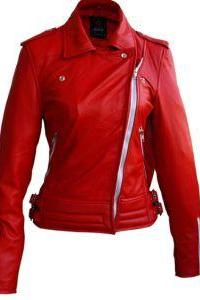 BRANDO WHITE ZIPPERS RED LEATHER JACKET WOMEN'S 2016