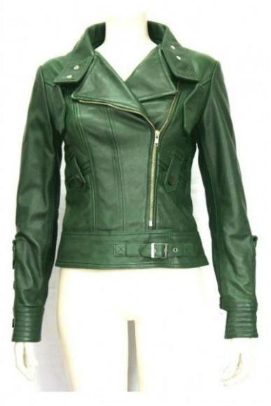 RETRO GREEN ORIGINAL LEATHER JACKET WOMAN'S 2016
