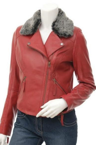 FLUFFY COLLAR RED ORIGINAL LEATHER JACKET WOMAN'S 2016