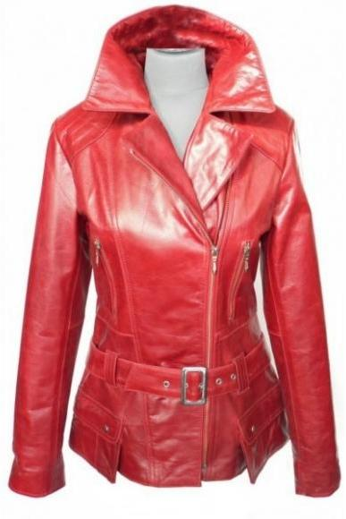 NEW BELTED RED RETRO ORIGINAL LEATHER JACKET WOMAN'S 2016