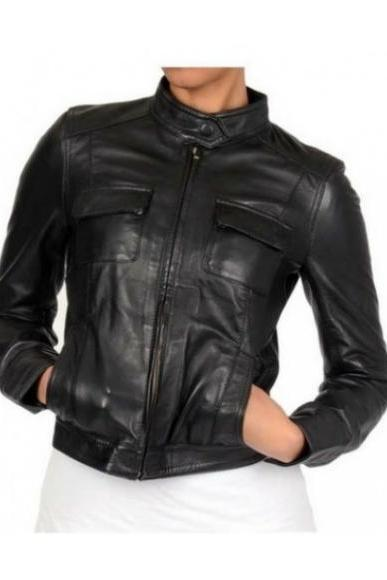 MULTI POCKET SLIM-FIT BLACK ORIGINAL LEATHER JACKET WOMAN'S 2016