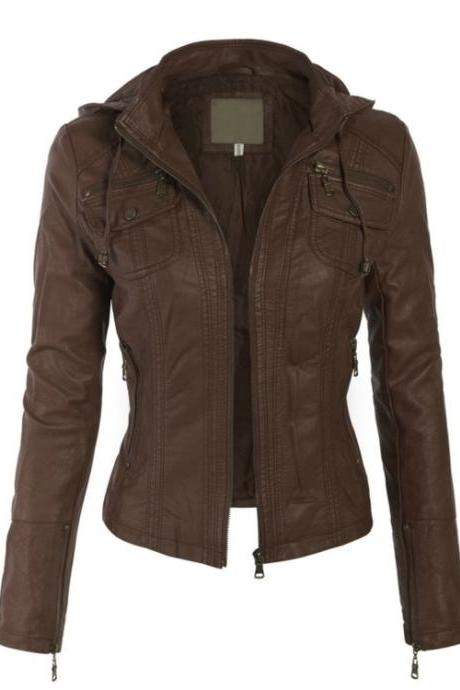 NEW ZIP-UP BOMBER BROWN LEATHER JACKET 2016 WOMAN'S