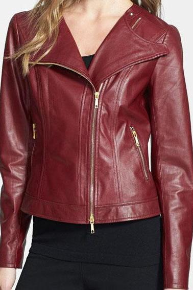 WOMEN'S MAROON FRONT ZIPPER ORIGINAL LEATHER JACKET 2016