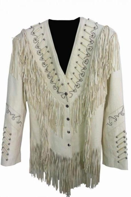WOMEN'S WHITE FRINGE BEADS ORIGINAL COW LEATHER JACKET 2016