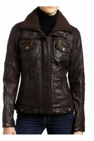 POCKET STYLE BROWN ZIPPER ORIGINAL LEATHER JACKET 2016 WOMAN'S