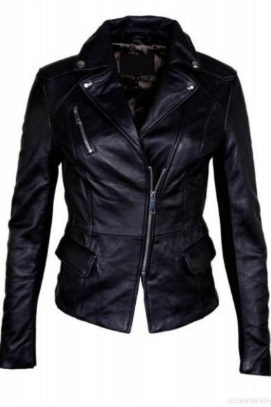 BRANDO STYLE HANDMADE BLACK ORIGINAL LEATHER JACKET 2016 WOMAN'S