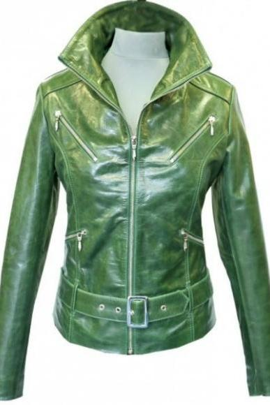 FRONT BUCKLE ZIPPER STYLE ORIGINAL LEATHER JACKET 2016 WOMAN'S