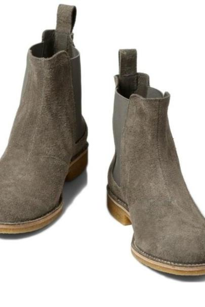 GRAY COLOR CHELSEA SUEDE LEATHER BOOTS MEN'S 2016