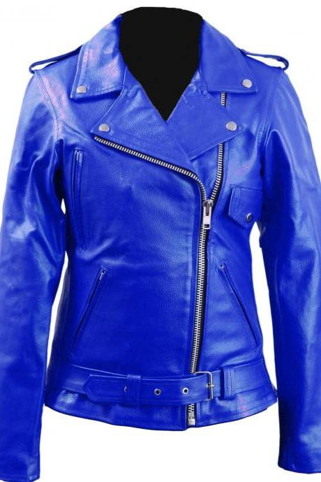 Women Blue Brando Genuine Leather Jacket